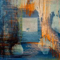Baum, Orange, Blau, Mischtechnik