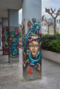 Farbfotografie, Graffiti, Frankfurt, Säule