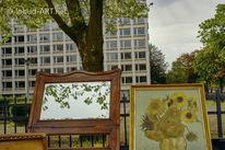 Frankfurt, Spiegel, Sonnenblumen, Blätter