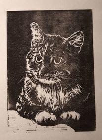 Katze, Linolschnitt, Tiere, Druckgrafik