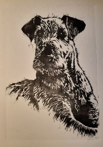 Terrier, Hund, Tiere, Linolschnitt