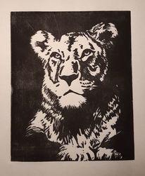Linolschnitt, Löwe, Tiere, Katze