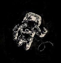 Linolschnitt, Astronaut, Weltall, Pech