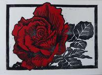 Linolschnitt, Wasserfarbe, Rose, Blumen