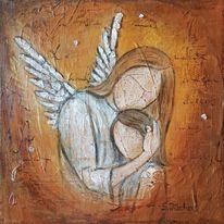 Acrylmischtechnik, Figurativ, Acrylmalerei, Engel