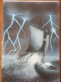 Drachenboot, See, Wikingerboot, Stürmische see