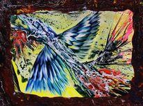 Domestizierung, Enkaustik, Vogel, Malerei