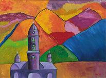 Landschaft, Berge, Akt, Kirche