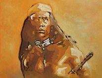 Western, Indianer, Amerika, Ölmalerei