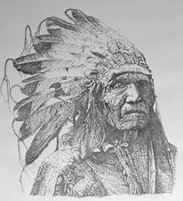 Brule, Indianer, Federzeichnung, He dog