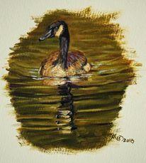 Wasser, Ölmalerei, Kanadagans, Malerei