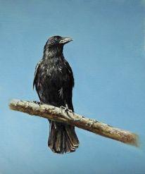 Aaskrähe, Äste, Ölmalerei, Tierwelt