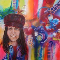 Streetart, Mädchen, Portrait, Malerei