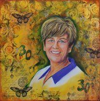 Collage, Portrait, Frau, Mischtechnik