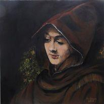 Titus nach rembrandt, Portrait, Acrylmalerei, Malerei
