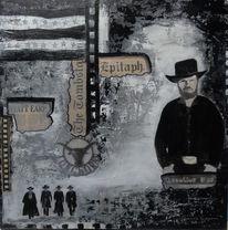 Grabstein, Acrylmalerei, Cowboy, Mann