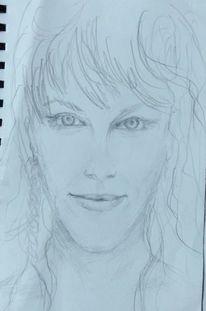 Gesicht, Frauenportrait, Zeichnungen,
