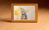 Gold, Weißes papier, Metallicbild, Druckgrafik
