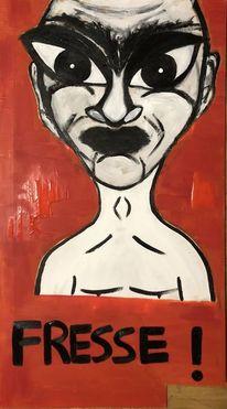 Gesicht, Wut, Rot, Malerei