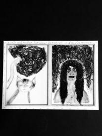 Katze, Gesicht, Schwarzweiß, Malerei