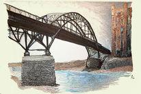 Brücke, Landschaft, Farben, Zeichnungen
