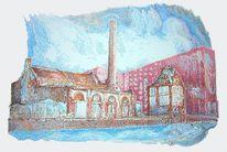 Fabrik, Landschaft, Farben, Zeichnungen