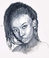 Portrait, Kopf, Schwarzweiß, Zeichnungen