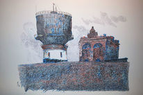 Wasserturm, Landschaft, Farben, Zeichnungen
