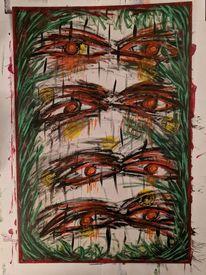 Acrylmalerei, Urwald, Augen, Malerei