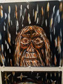 Alter mann, Acrylmalerei, Pappe, Malerei