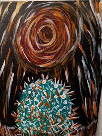 Kaktus, Sonne, Acrylmalerei, Malerei