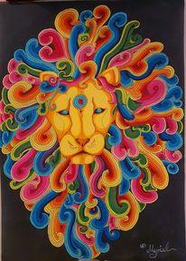 Energiebild, Löwe, Innere stärke, Zeichnungen