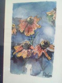 Blumen, Malerei, Aquarellmalerei, Sonnenhut