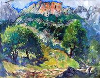 Landschaft, Alpenlandschaft, Malerei,