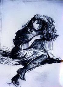 Bleistift auf papier, Zeichnung, Mädchenfigur, Zeichnungen