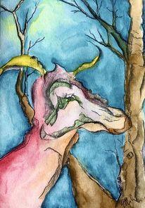 Dämmerung, Baum, Fabelwesen, Malerei