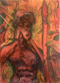 Speer, Feuer, Pastellmalerei, Malerei