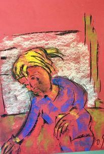 Zopf, Kind, Pastellmalerei, Malerei