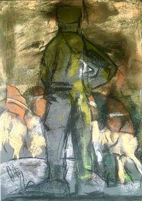 Soldat, Gefangene, Pastellmalerei, Malerei