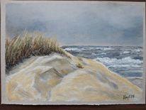 Pastellmalerei, Strand, Gewitter, Langeoog