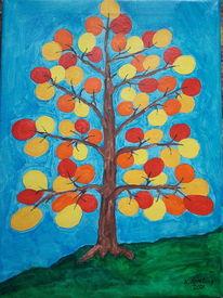 Bunt, Baum, Ballon, Malerei