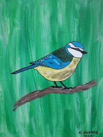 Bunt, Vogel, Grün, Malerei