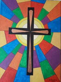 Erleuchtung, Kreuz, Bunt, Malerei