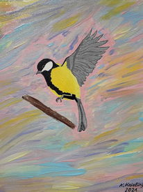 Vogel, Bunt, Anflug, Malerei