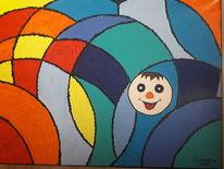 Spaßgesicht, Farbmuster, Bunt, Malerei