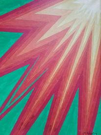 Geometrisch, Sonnenstrahlen, Bunt, Malerei