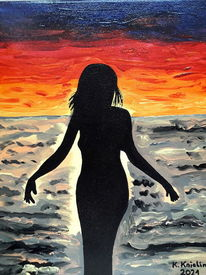 Bunt, Sonnenuntergang, Frau, Malerei