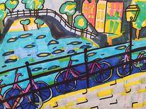 Wasser, Amsterdam, Stadt, Malerei