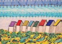 Strandhäuser, Normandie, Gouville, Bunt strand