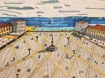 Platz, Häuser, Lissabon, Schatten